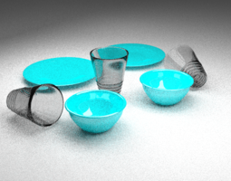 Turquoise Dishes 3D asset