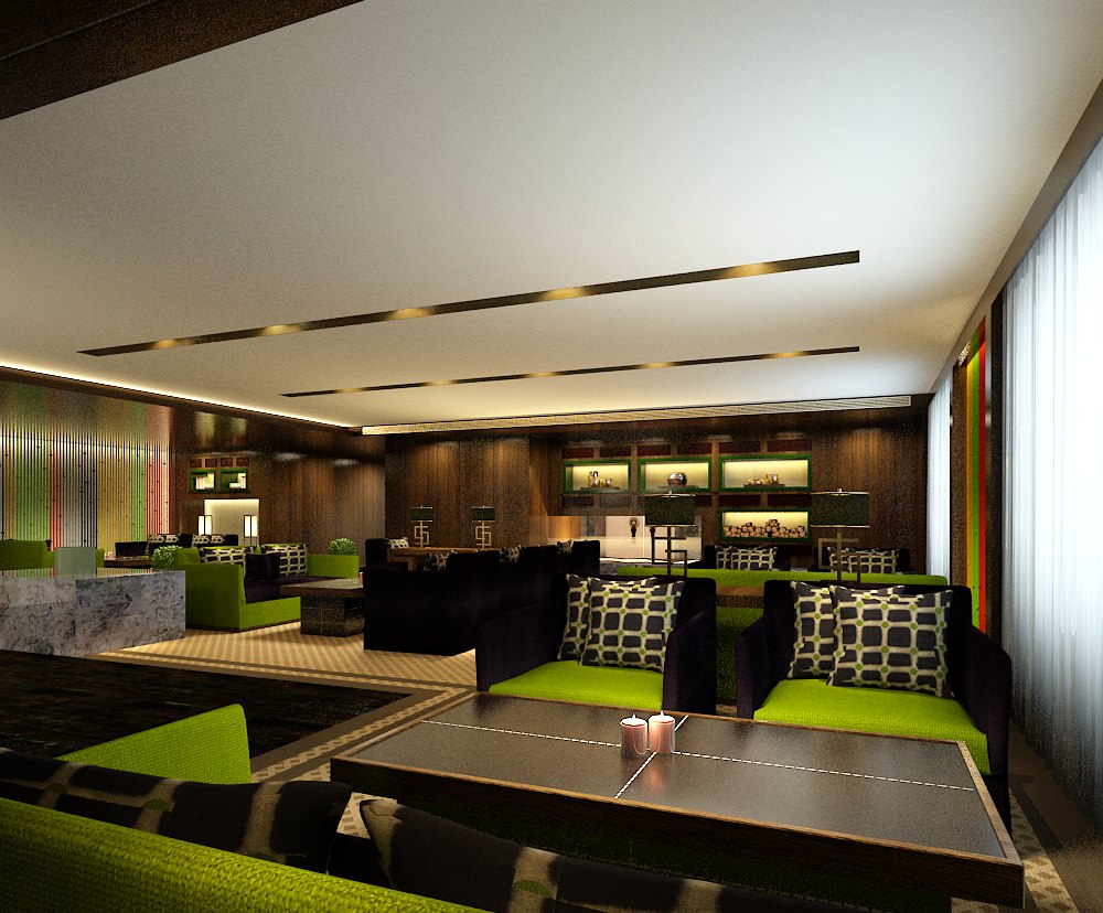 Modern restaurant interior green d model max cgtrader