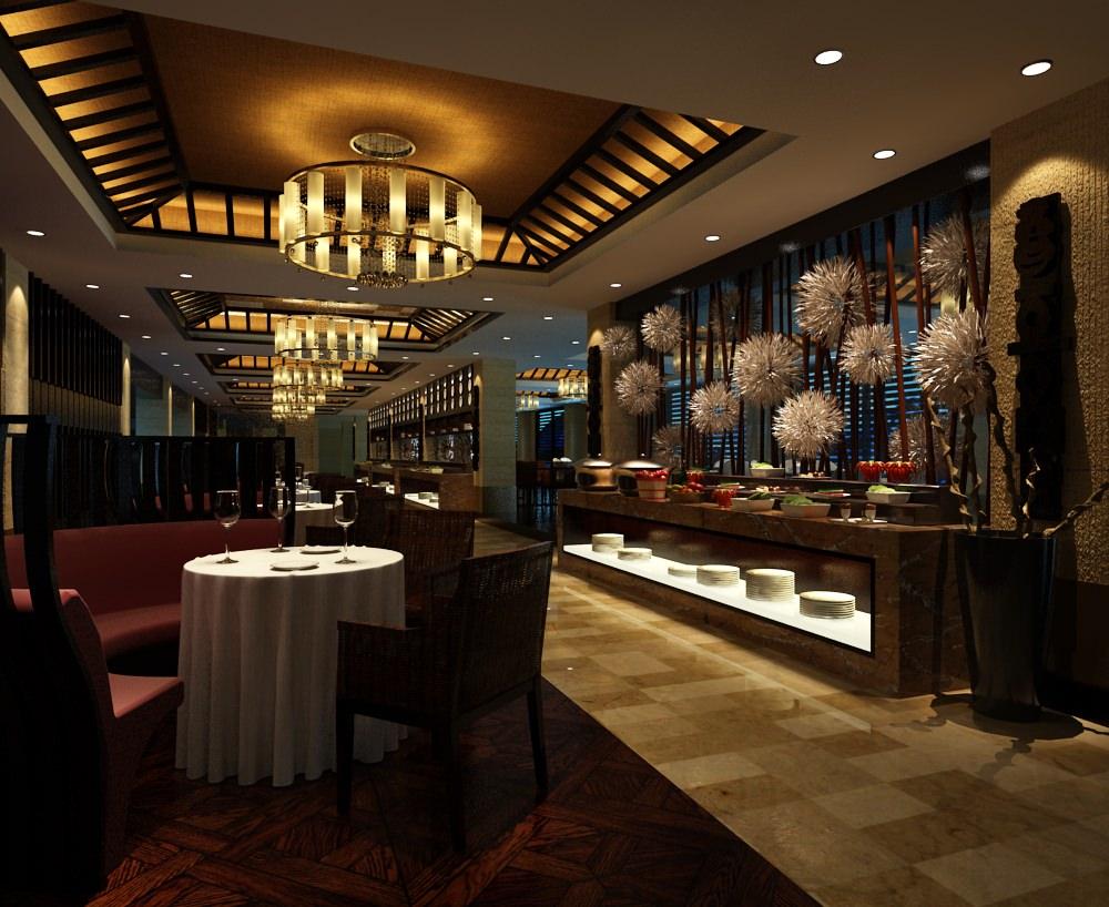Restaurant Interior Model : Restaurant interior buffet style d model max cgtrader