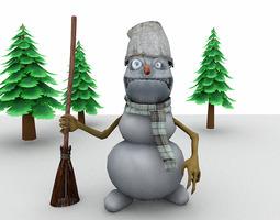rigged evil snowman for poser 3d