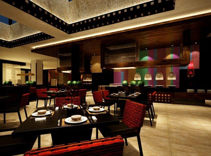 Photo realistic restaurant interior d model max