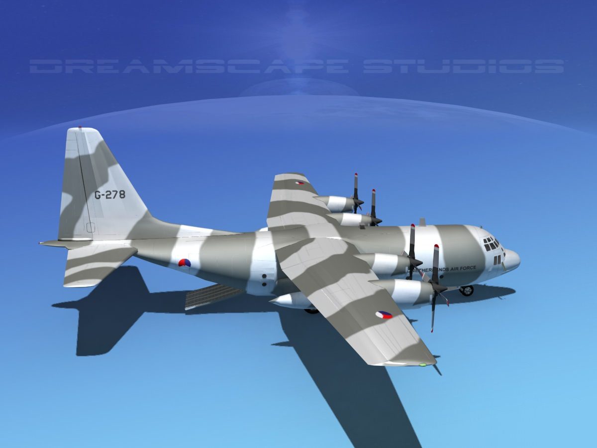 Lockheed C 130 Hercules Netherlands 3d Model Rigged Max