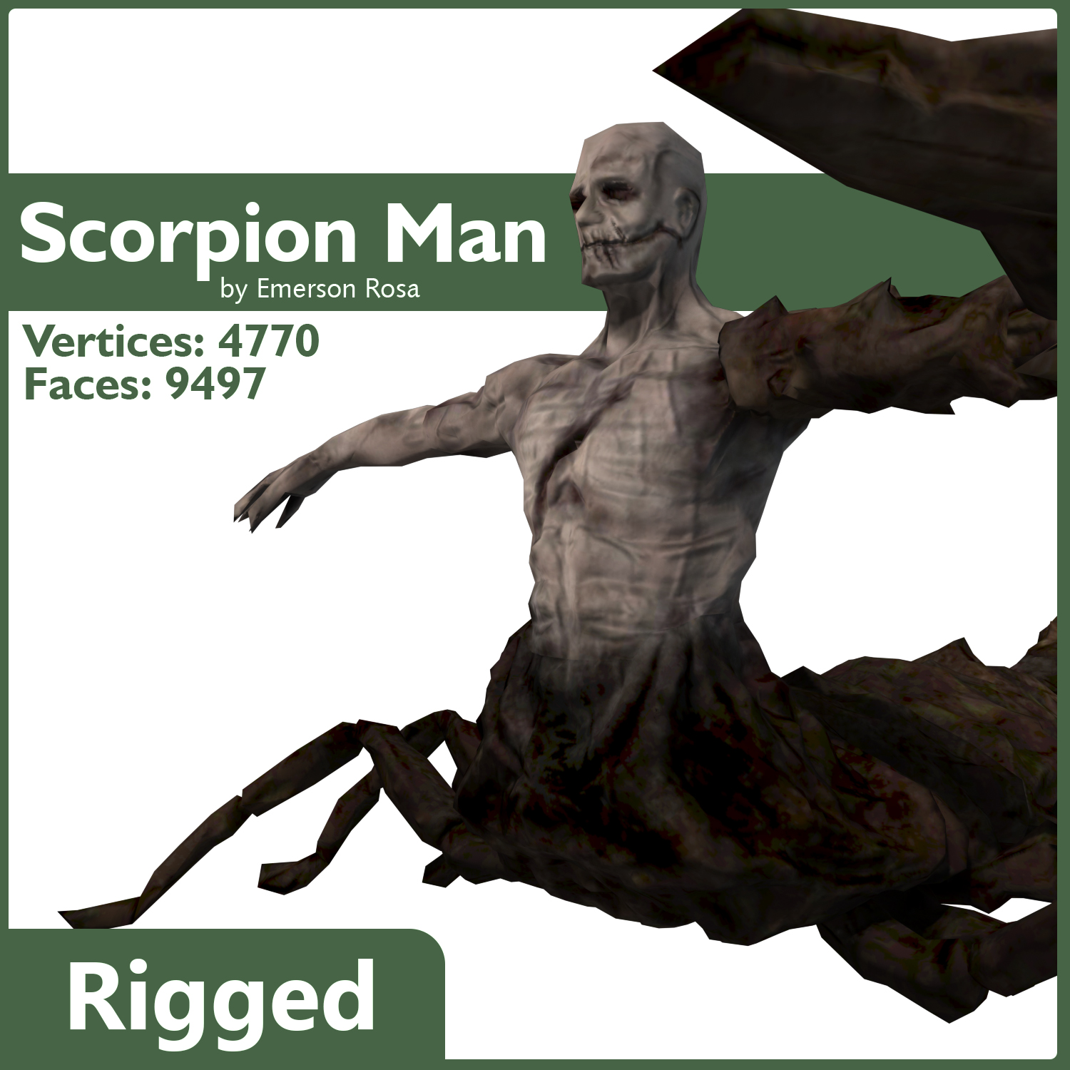 Rigged Scorpion Man 3D Model Game Ready Rigged .max .obj