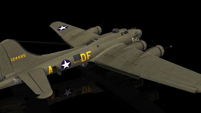 boeing b17 g flying fortress memphis belle aircraft 3d model max obj mtl fbx c4d 1