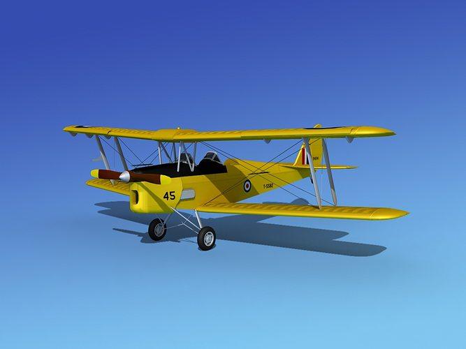 dehavilland dh82 tiger moth v05 3d model max obj mtl 3ds lwo lw lws dxf stl 1