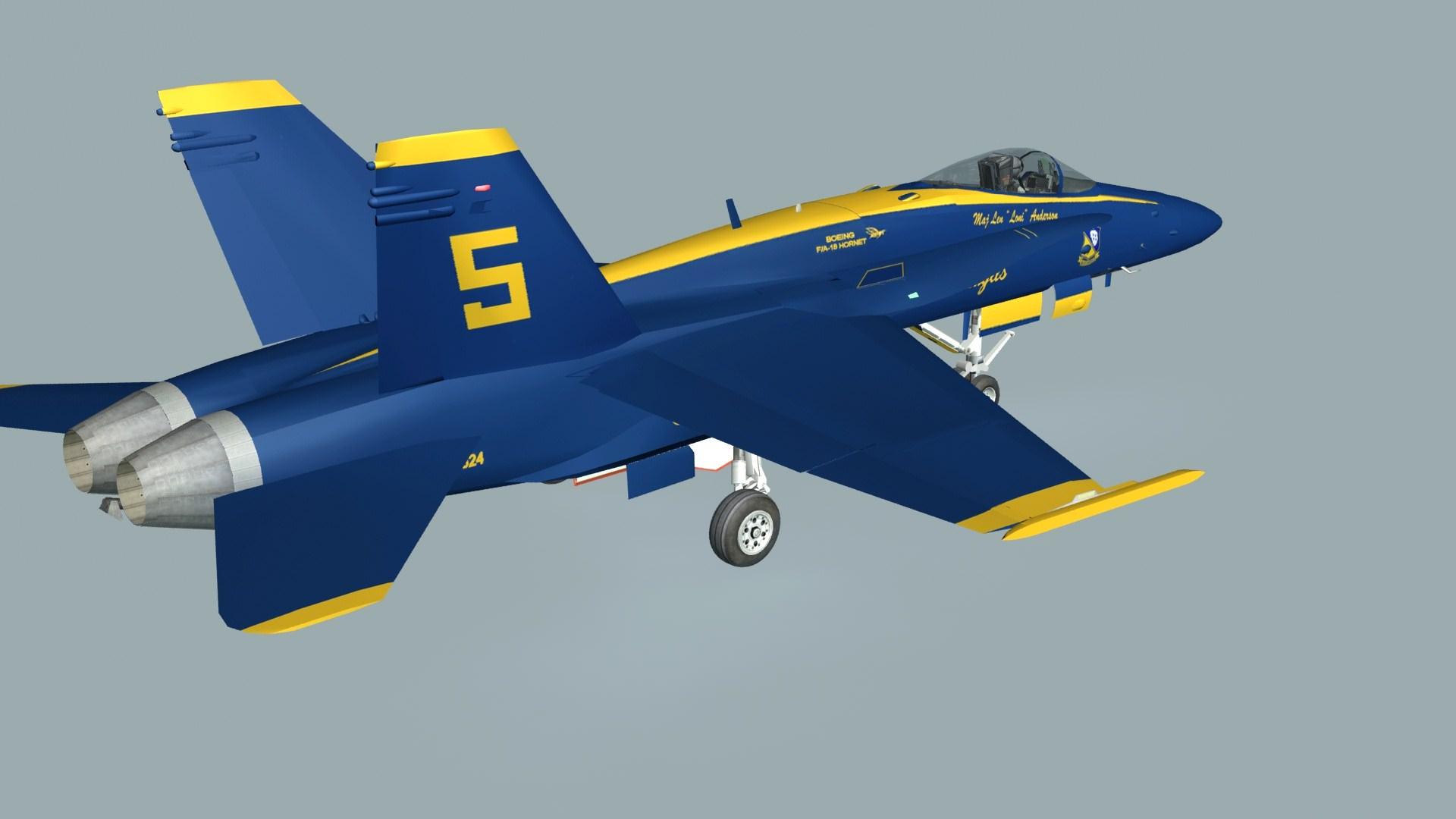 F18C Hornet Blue Angels 3D Model Game ready .max .obj .3ds ...