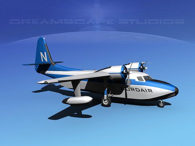 grumman g-73 mallard nordair 3d model max obj mtl 3ds lwo lw lws dxf stl 1