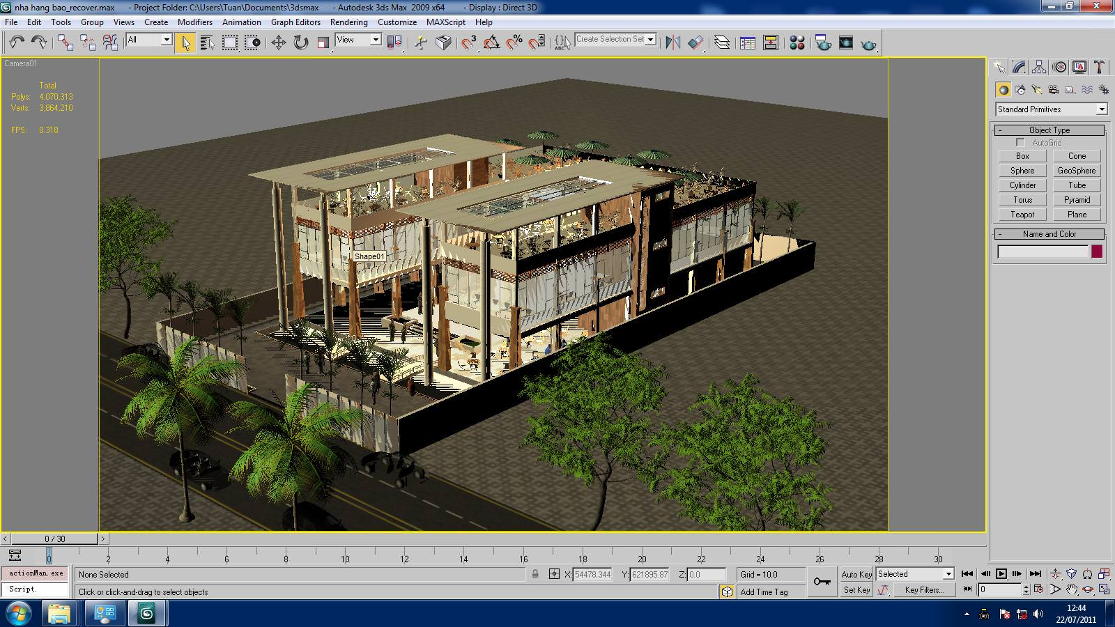 Restaurant building with interior d model max cgtrader