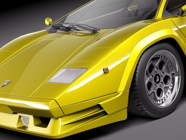 lamborghini countach 5000qv 25th anniversa 3d model max obj 3ds fbx c. Black Bedroom Furniture Sets. Home Design Ideas