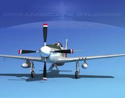 p-51d mustang korean air force rigged 3d model