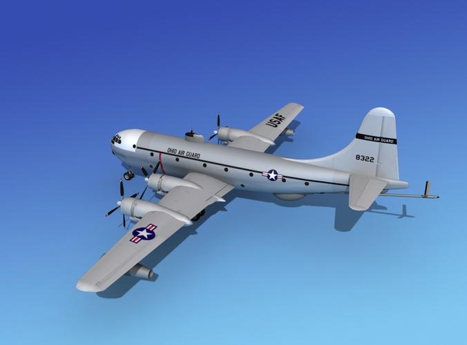 Boeing KC-97 Stratotanker Air Guard 3D Model rigged .max ...