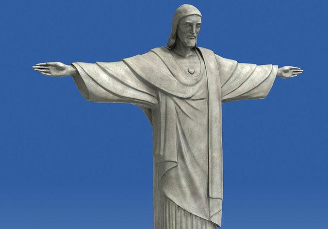 realistic christ redeemer statue 3d 3d model max obj mtl fbx stl ztl 1
