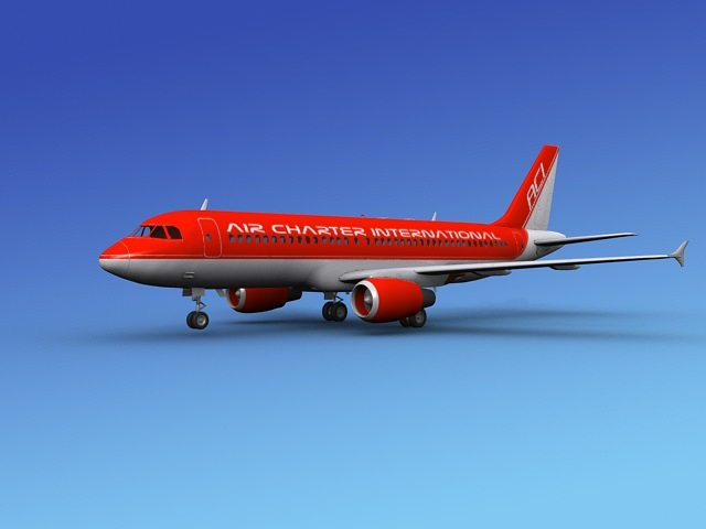airbus a320 air charter intl 2 3d model max obj 3ds dxf dwg mtl 1
