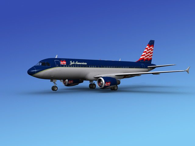 airbus a320 jet america 3d model max obj 3ds dxf dwg 1