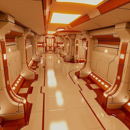 polyguardian cruiser corridor 3d model obj mtl 3ds blend 1