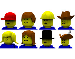 3d model modular brick hats and hair poser