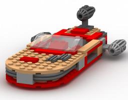 3d rigged modular brick landspeeder poser