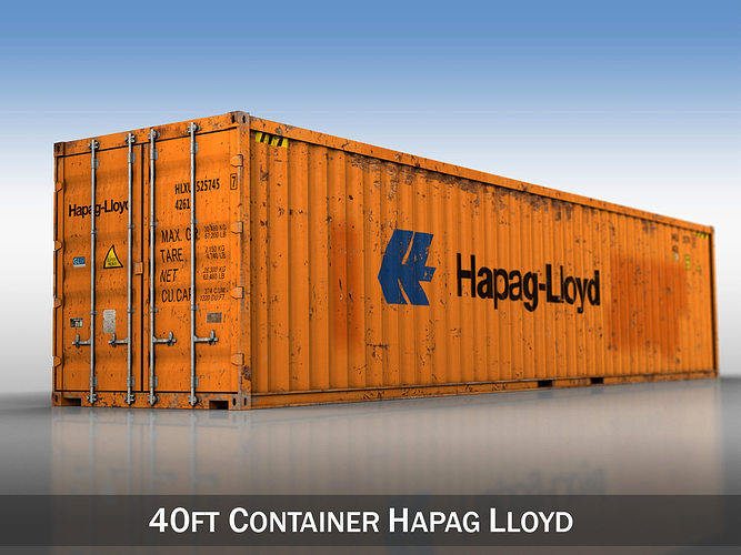 40ft shipping container - hapag lloyd 3d model obj 3ds fbx c4d lwo lw lws 1