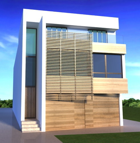 One fasade modern building free 3d model max 3ds for Exterior 3d model