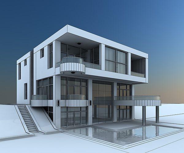 Home Design 3d Free Reviews: 3D Model Modern Villa With Balcony