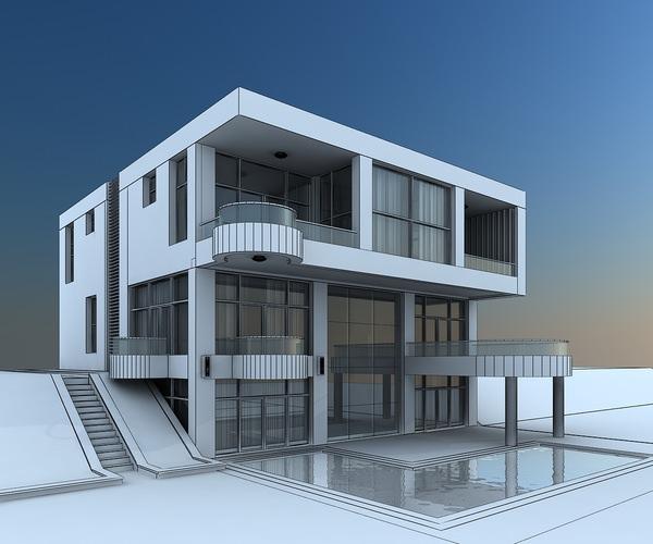 Villa 3d model max for Exterior 3d model
