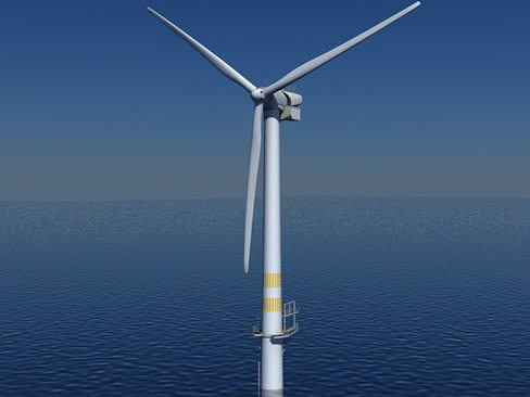 wind turbine offshore realtime 3d model low-poly max obj mtl 3ds c4d lwo lw lws ma mb 1