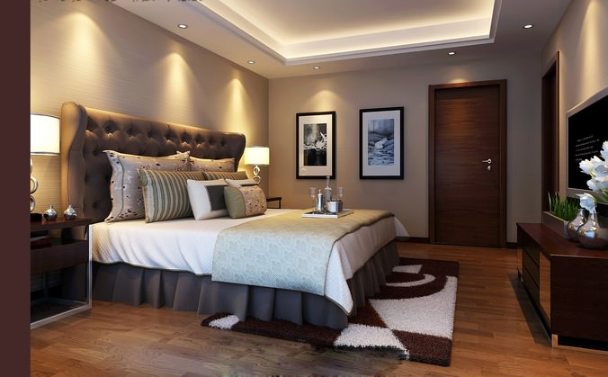 Modern design bedroom flat 3d model cgtrader for Bedroom designs 3d model