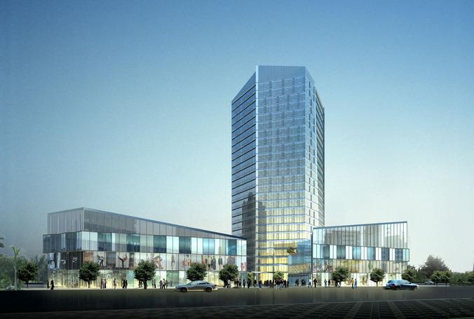 Modern shopping center with Business center3D model