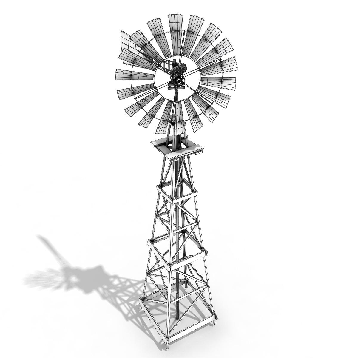 Windmill 3D Model Game ready .max .obj .fbx .lwo .lw .lws