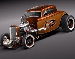 Ford 1934 Hot Rod old school 3D Model