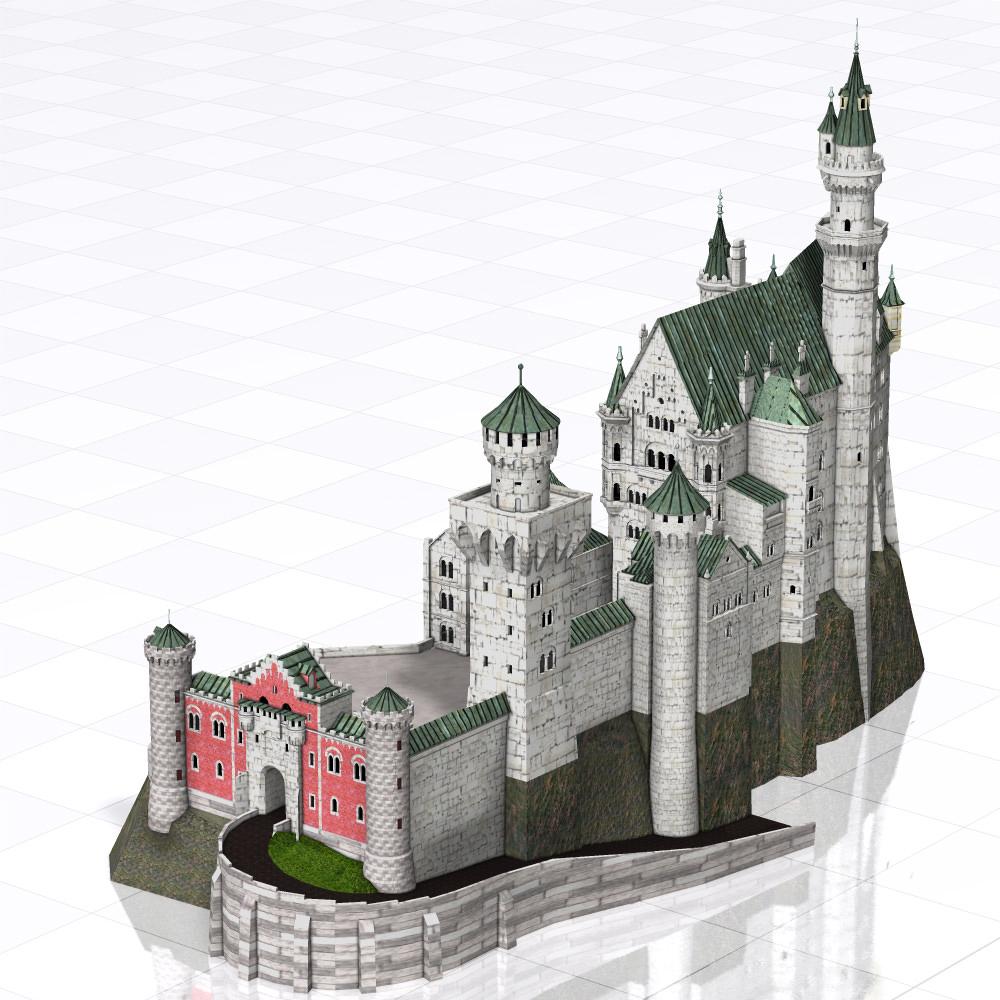 neuschwanstein castle poser vue 3d model vue pz3 pp2. Black Bedroom Furniture Sets. Home Design Ideas