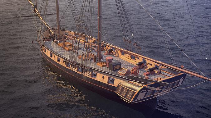 brig sail ship exuberant 3d model max 3