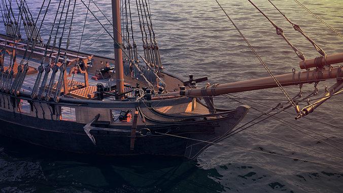 brig sail ship exuberant 3d model max 1