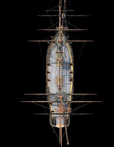 brig sail ship exuberant 3d model max 10