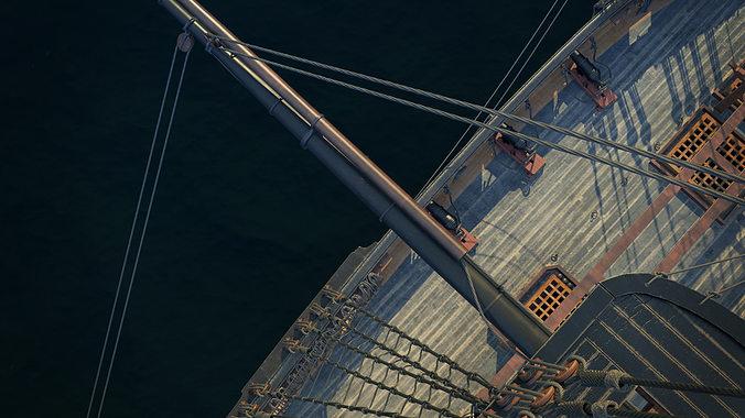 brig sail ship exuberant 3d model max 6