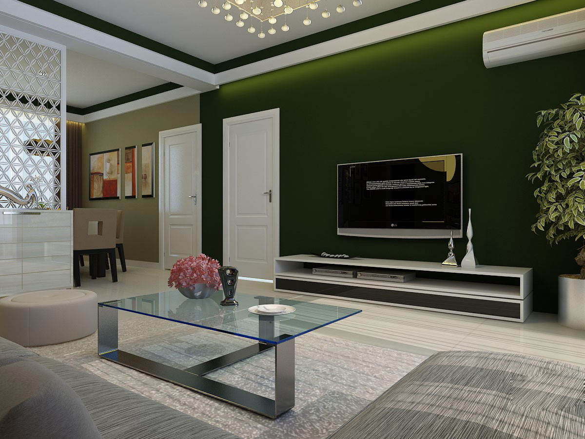 Modern Living Room with Glass Table 3D Model x