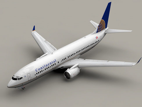 boeing 737-800 continental airlines 3d model animated max obj mtl 3ds lwo lw lws tga 1