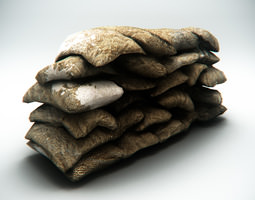 Sandbag Barrier 3D Model