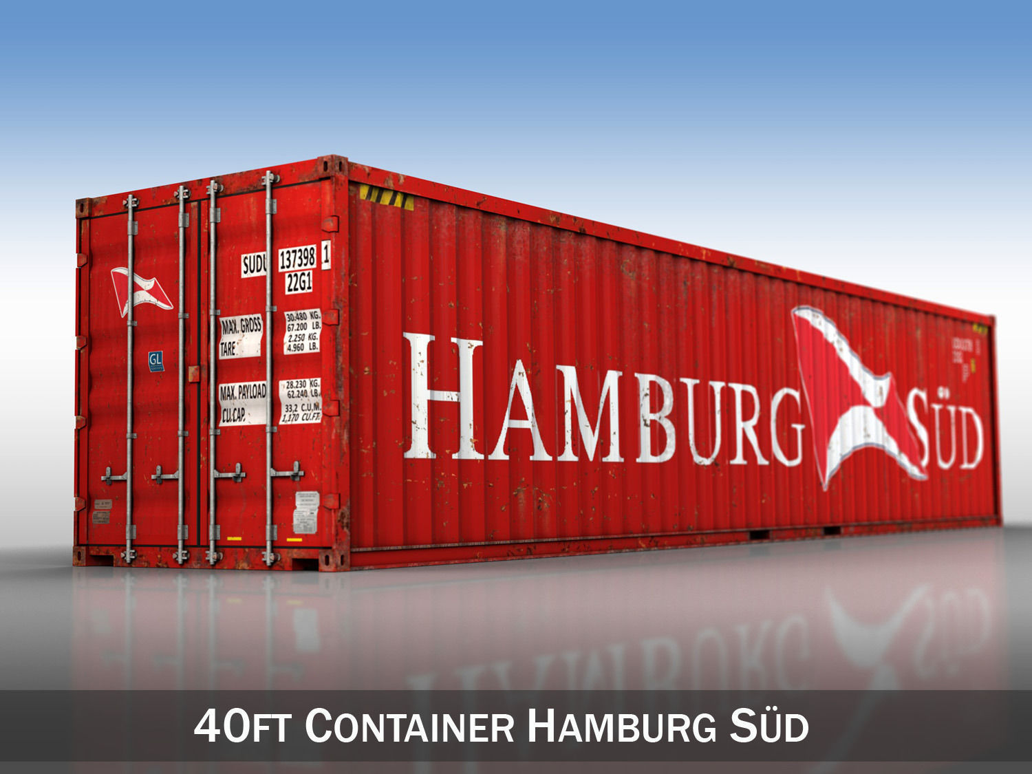 40ft shipping container hamburg sued 3d model obj 3ds fbx c4d lwo lw lws. Black Bedroom Furniture Sets. Home Design Ideas