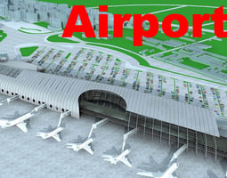3D model Airport with Cars and Planes