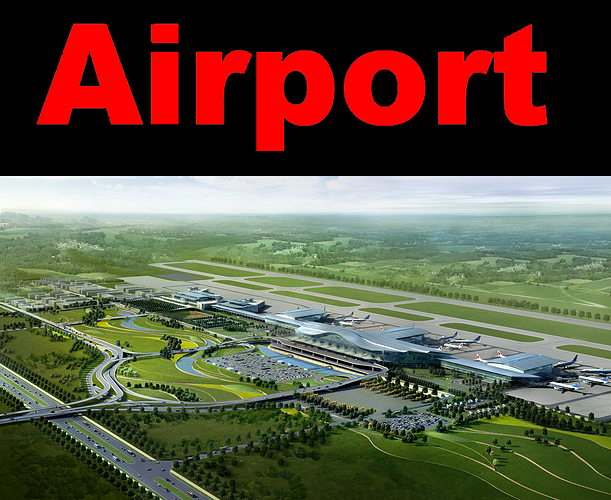airport with road infrastructure 3d model max obj 3ds fbx 1