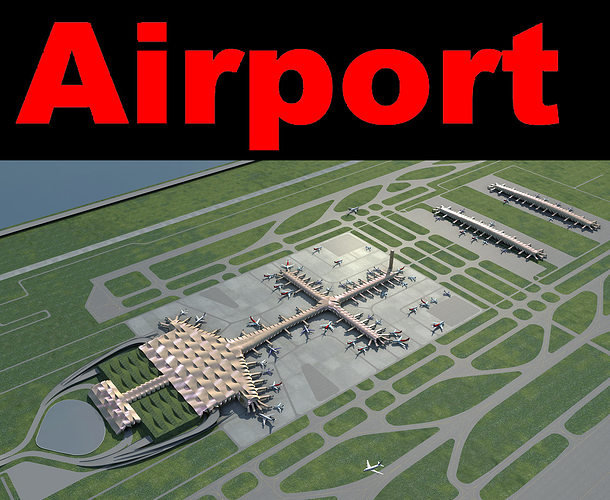 airport with wavy roof 3d model max 3ds 1