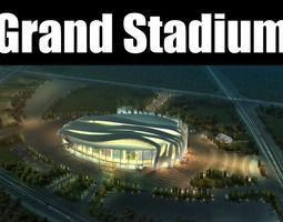 3d model grand stadium 010  modern arena with gaming field