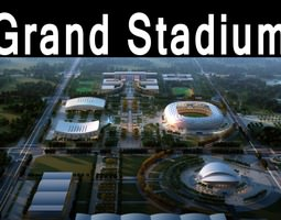 3d model grand stadium 016 olympic size  building complex