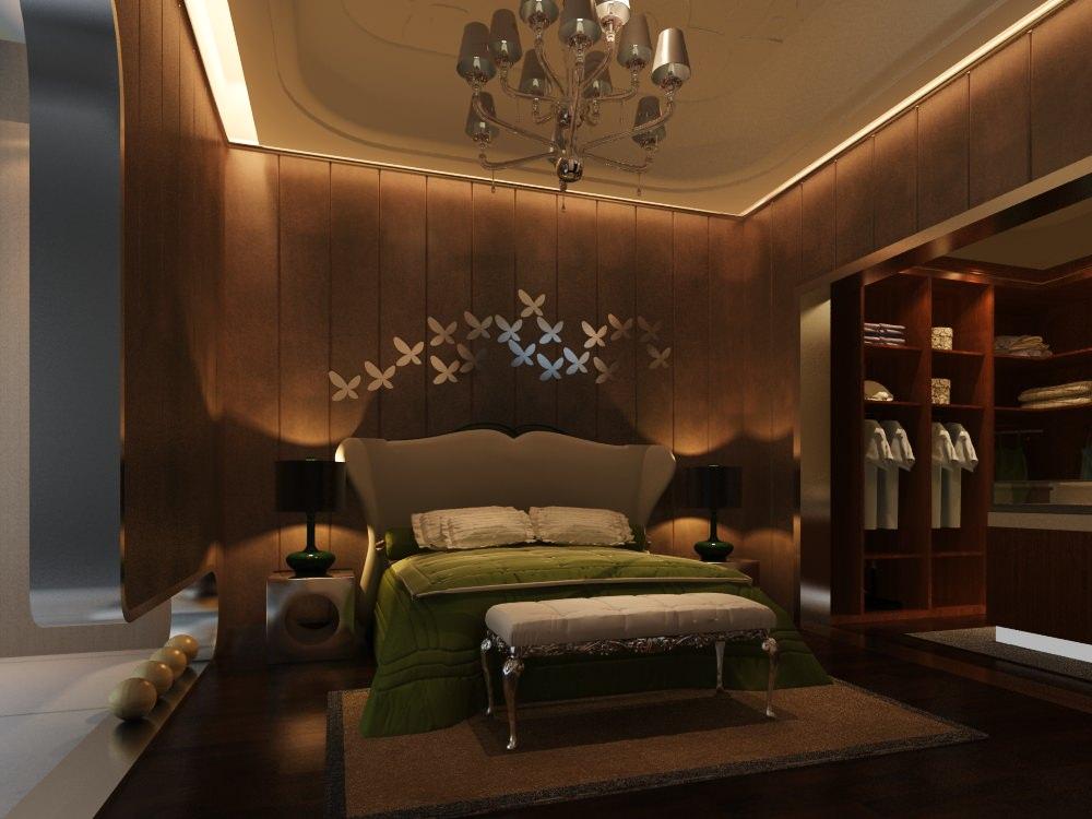 brown color bedroom 3d model max