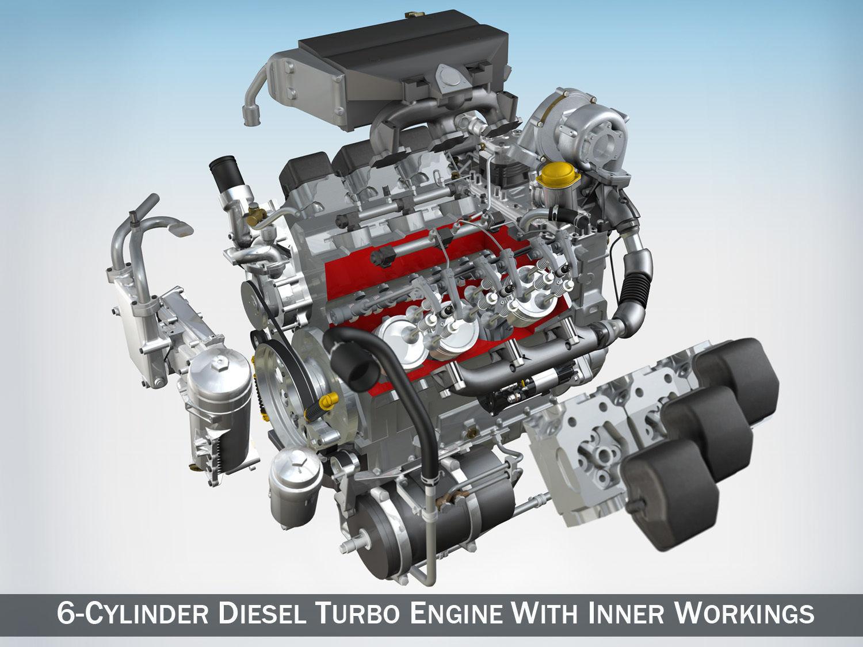 Diesel Turbo Engine with Interior Parts