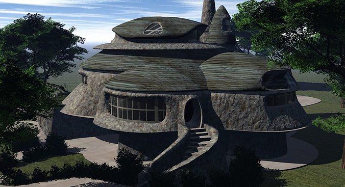 neo home fantasy house 3d model obj mtl 1