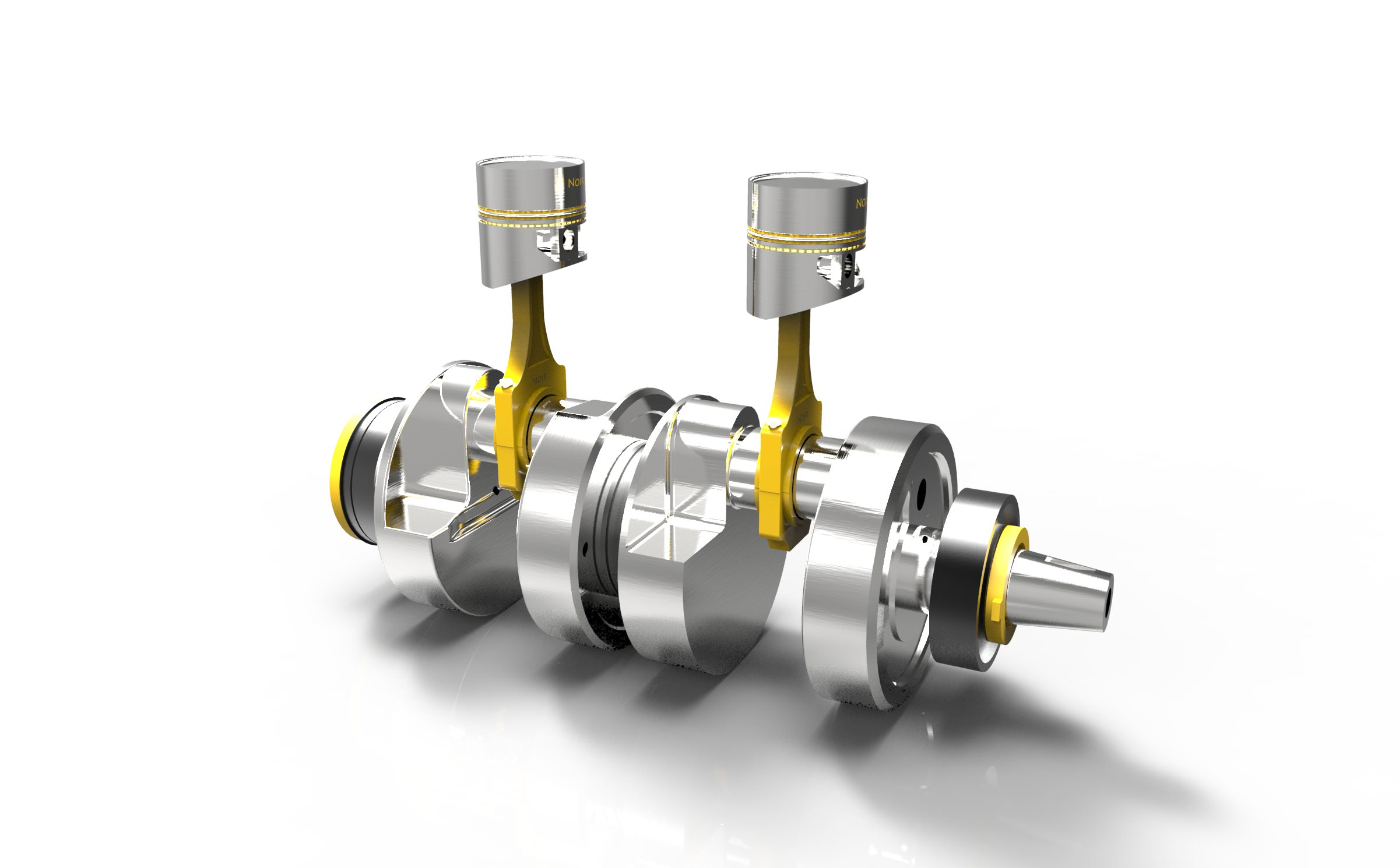 Motorcycle Piston And Crankshaft 3d Model Dwg