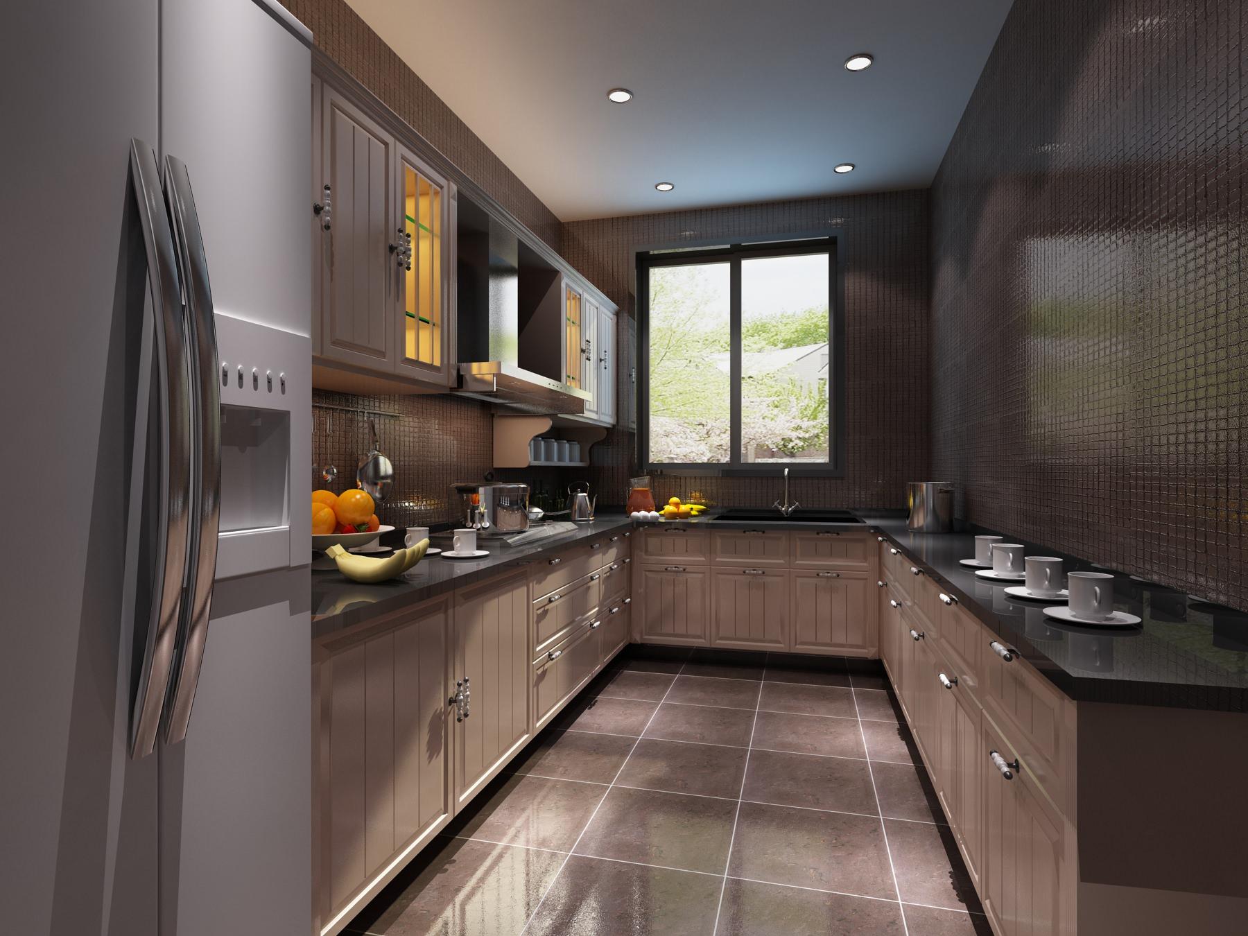 Modern Kitchen Interior With Refrigerator 3d Model Max
