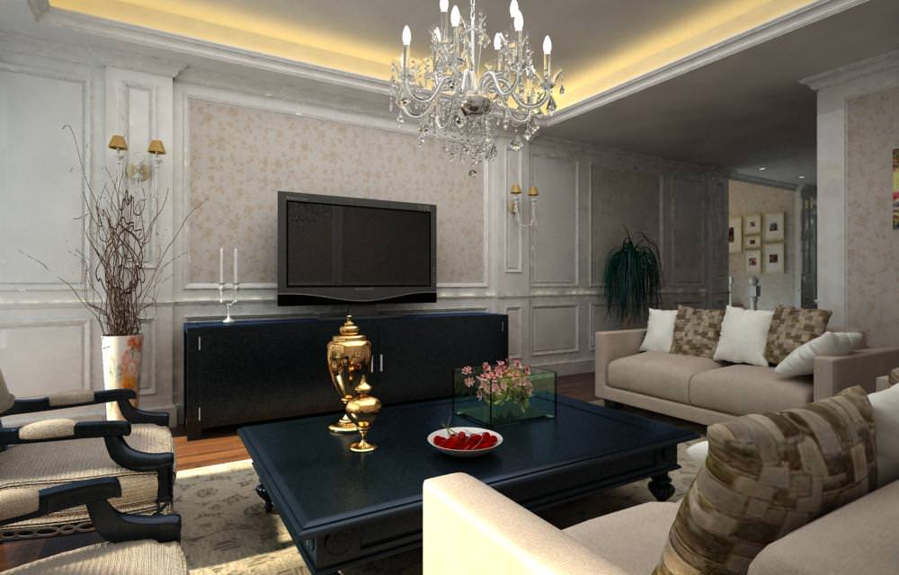 Drawing room interior with crystal chandelier 3d model Model home family room pictures